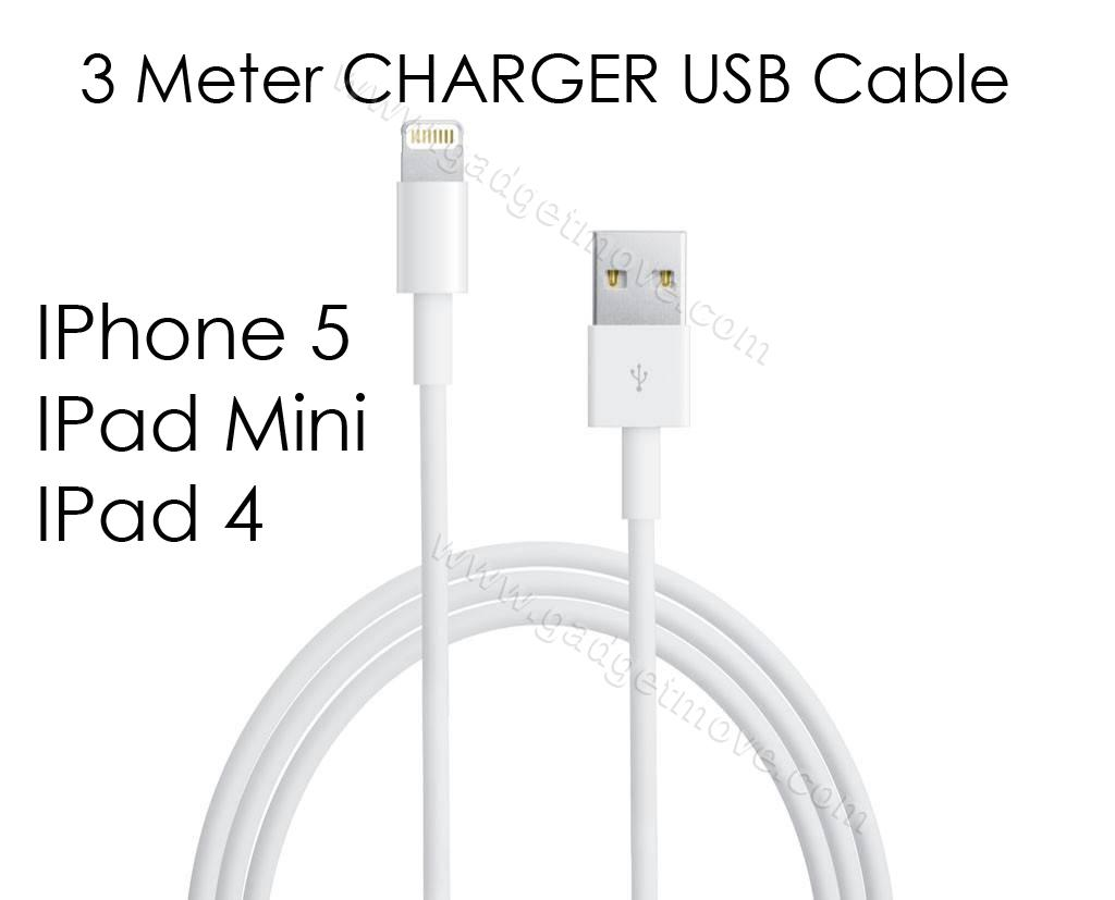 New Ipad 4 Iphone 5 Mini 3 Meters Lightning Usb Data Cable