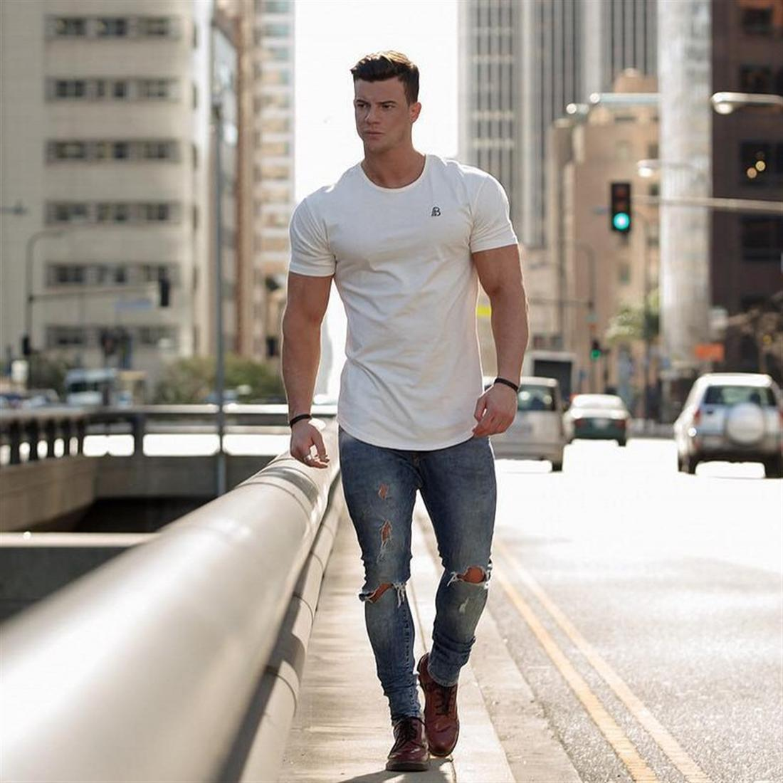 New men's embroidered T shirt muscle sport brother full cotton fitness
