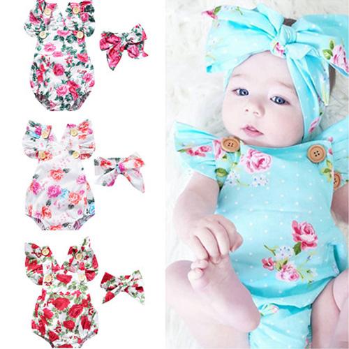 c757778133853 Newborn Infant Baby Girls Kids Cotton Bodysuit Clothes Outfit JUMPSUIT