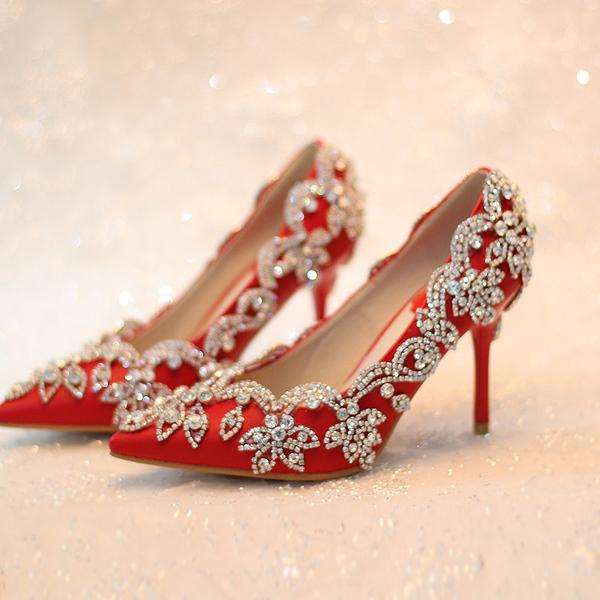 Newest High Heels Red Rhinestones Wedding Shoes For S