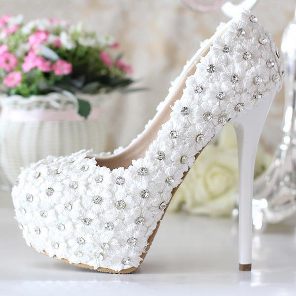 NEWEST LACE FLOWER HIGH HEELS WEDDING SHOES FOR SALES
