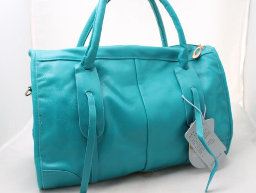 Newly Pure Color Graceful Style Zipper Handbag Blue