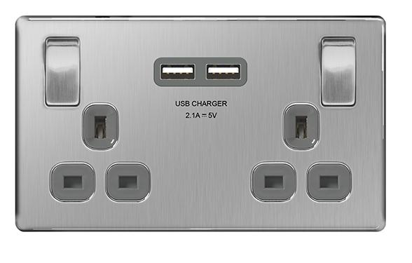 NEXUS 2 GANG SWITCH 13A WITH 2 USB 2.1A OUTPUT BRUSHED STEEL