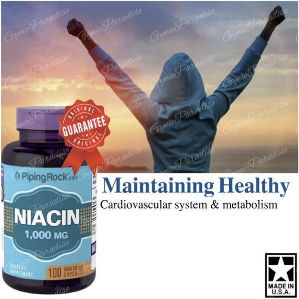 Niacin 1000mg, Vitamin B3, 100 Caps (Made in USA)