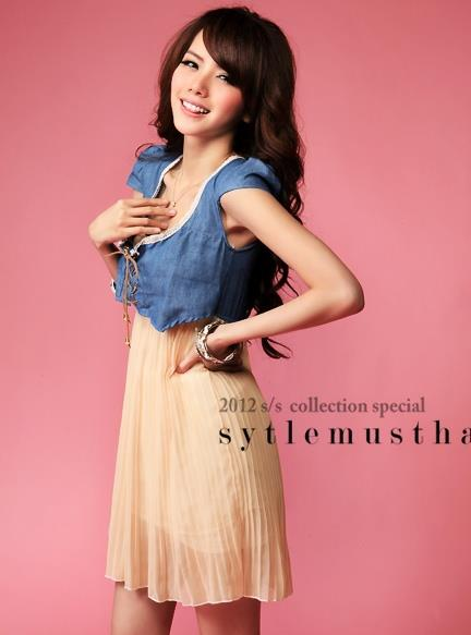 Nice Quality Jean Jacket Chiffon Dress 12845