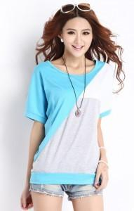 Nice Quality King Size Short Sleeve Blouse 14321 (Blue)