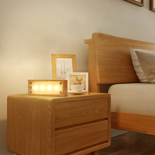 Night Lights - Creative Solid Wood Led Night Light For Bedroom BedsIDE..