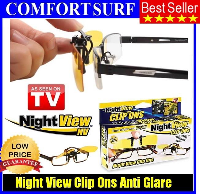 Night View Clip Ons Glasses Lens - Reduce Glare, Car Driving Spec. ‹ ›