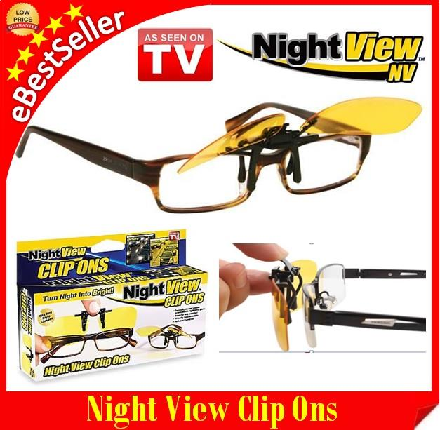 Night View Clip-Ons Glasses Lens - Reduce Glare Car Driving Sunglasses. ‹ ›