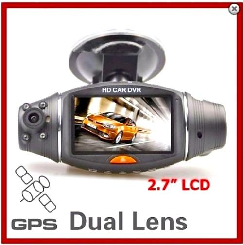 "Night Vision 2.7"" LCD Dual Lens Car Black Box with GPS (WCR-11)."