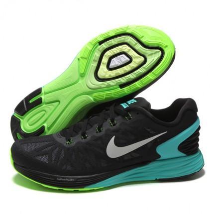 Nike 2015 Q2 Men Lunarglide 6 Running Sneaker Shoes Black