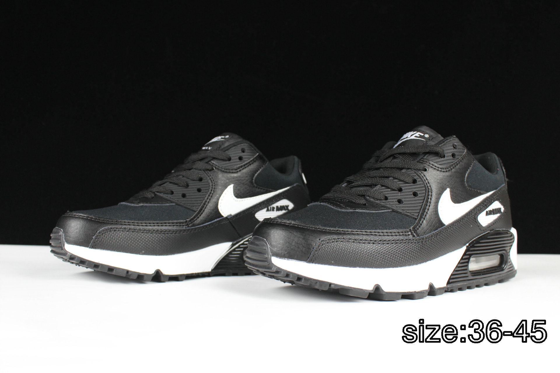 new arrival 76a6a 6bb3f inexpensive nike air max 90 leather black white 7e68a a141f