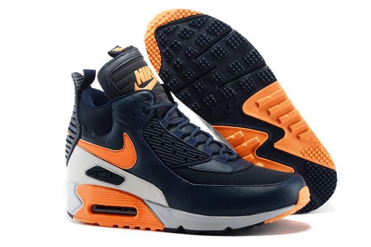 Boys Nike Air Max 90 Sneakerboots Winter Leather Navy Orange
