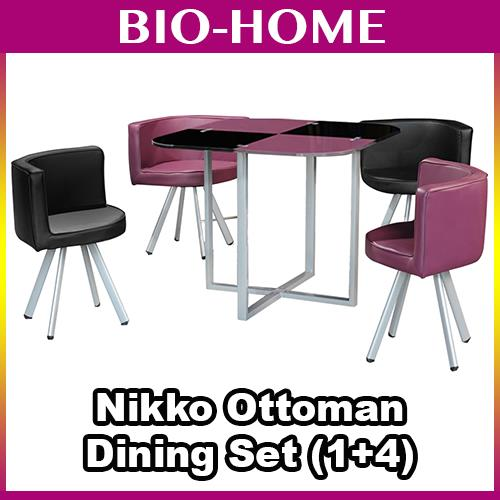 NIKKI OTTOMAN MEETING STUDY DINING OFFICE TABLE SET 1+4 SAVE SPACE