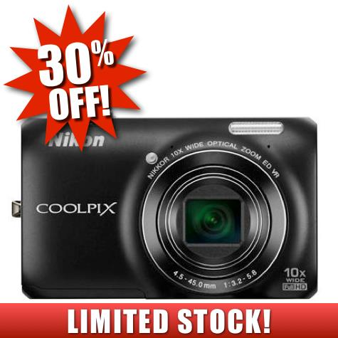Nikon Coolpix S6300 16MP Digital Camera (Black) HD Video + Free Case*