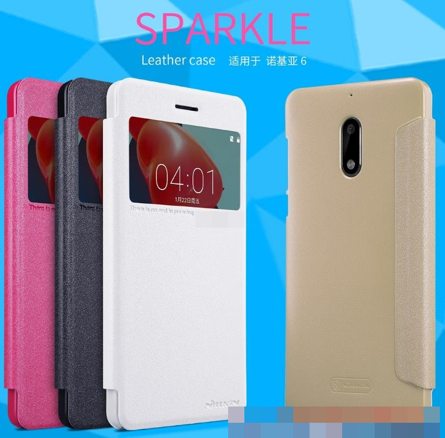 Nillkin Nokia 6 Flip Sparkle Series Leather Cover Case Casing