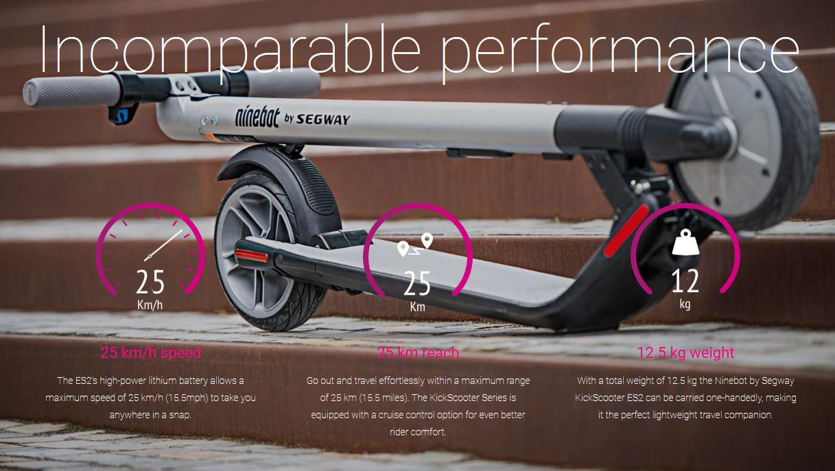 Ninebot by Segway KickScooter ES2 Full Suspension with 600W Motor