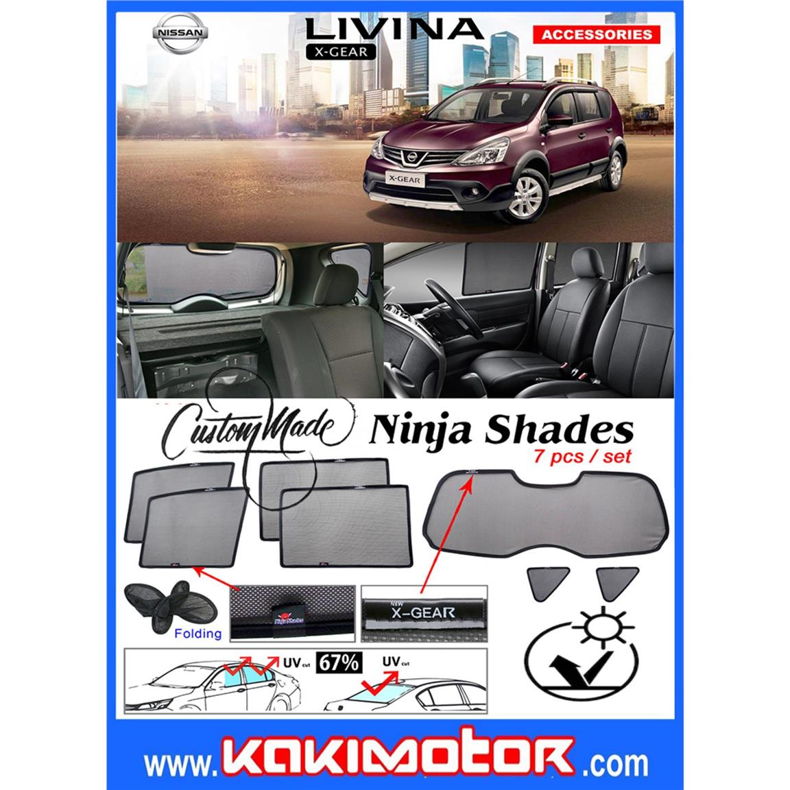Ninja Sunshade for Nissan Livina X-GEAR(7PCS)