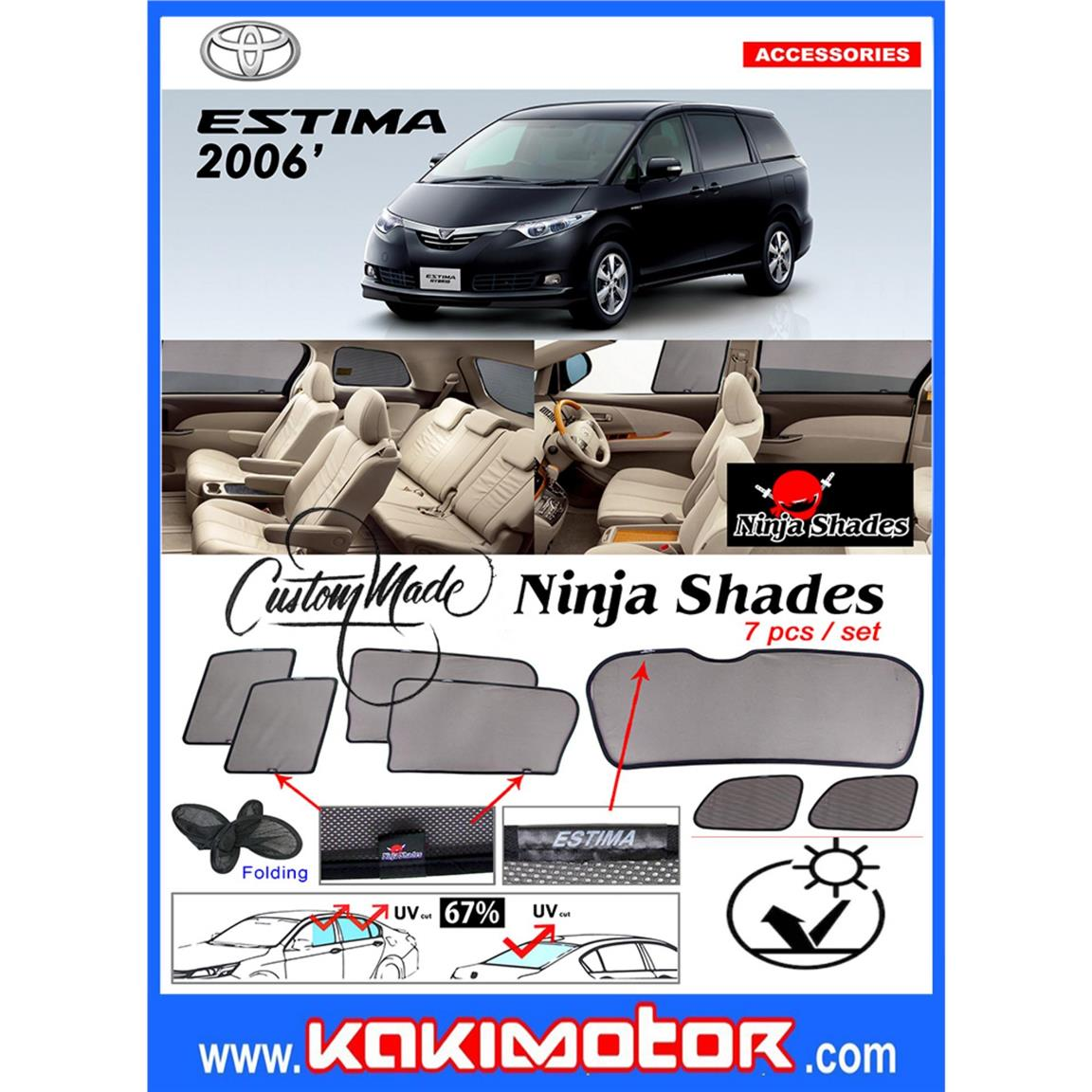 NINJA SUNSHADE FOR TOYOTA ESTIMA 2006(7PCS)