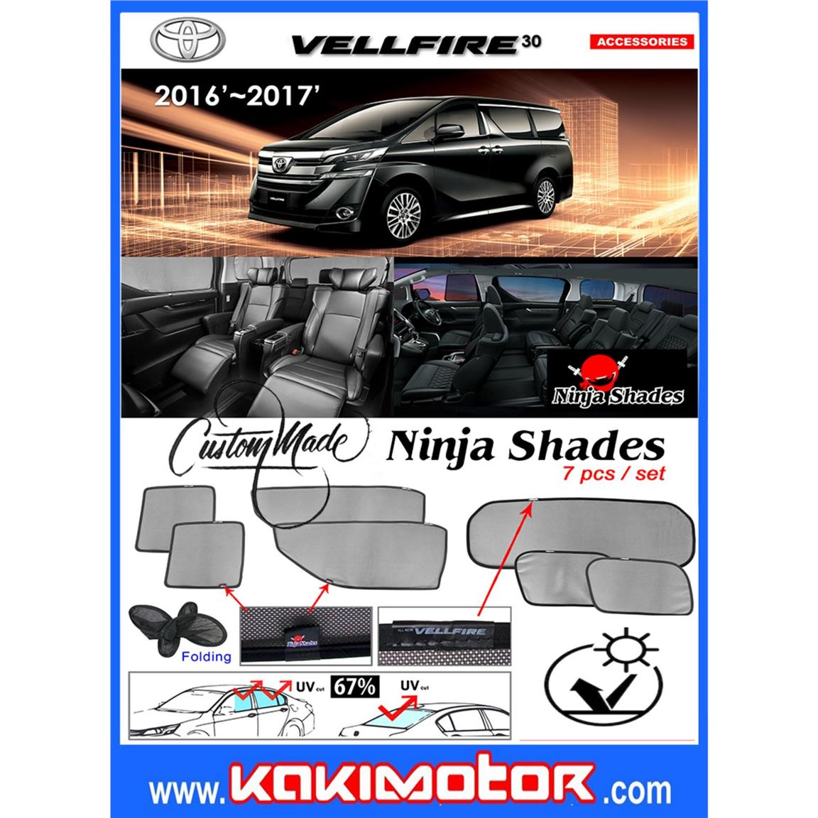 Ninja Sunshade for Toyota Vellfire 30 2016-2017 (2+1)
