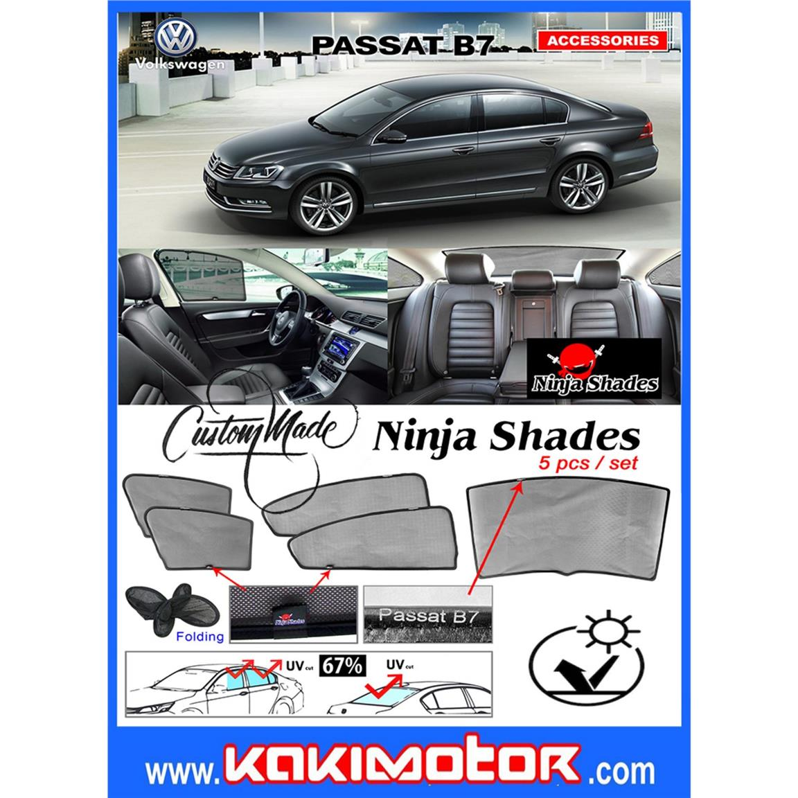 Ninja Sunshade for Volkswagen Passat B7(5PCS)
