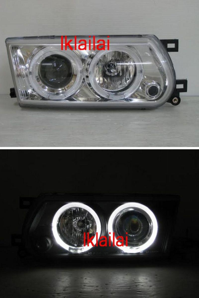 NISSAN SENTRA B13 LED Ring Projector Head Lamp Chrome