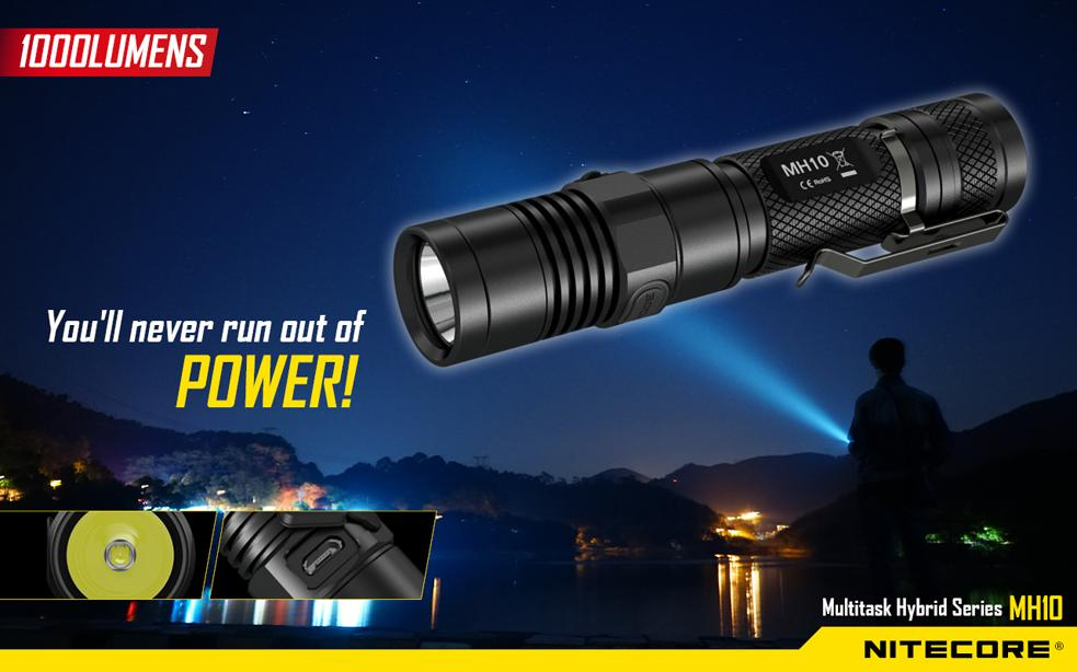 Nitecore MH10 Utilizes Cree XM-L2 (U2) LED Flashlight - 1000 Lumens