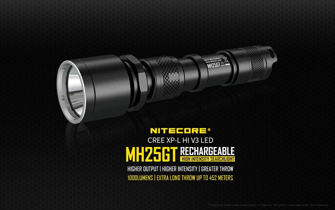 Nitecore MH25GT Utilizes Cree XM-L HI V3 LED Flashlight - 1000 Lumens