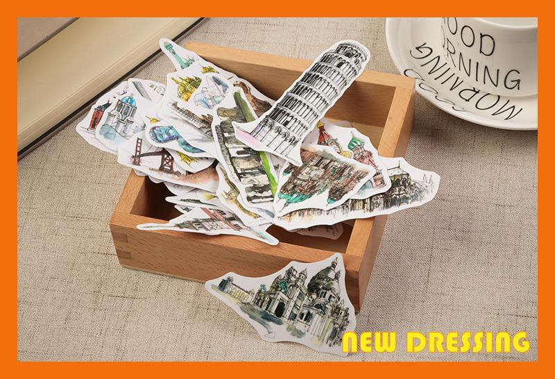 NK196 - Famous Scenery Tracing Paper Sticker Set