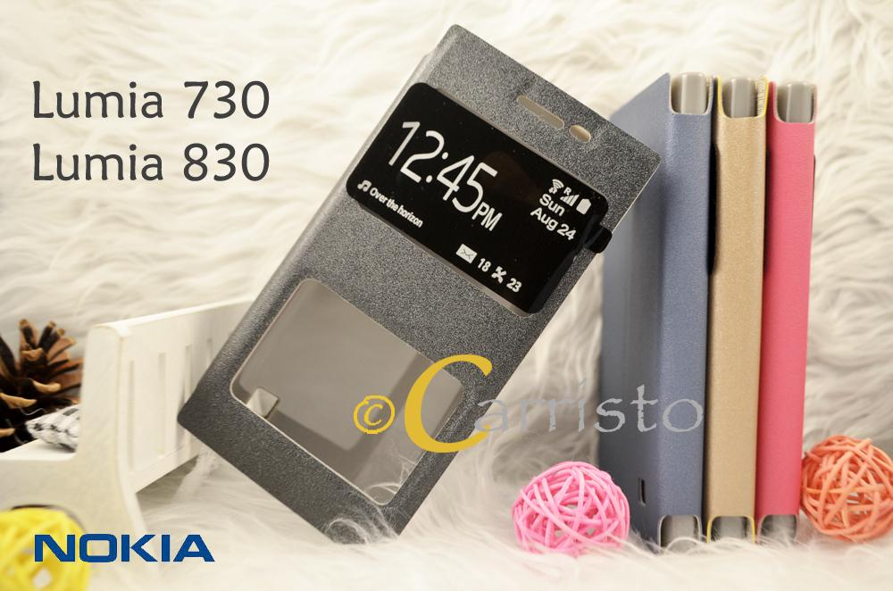 uk availability 5a4fe c88ab Nokia Lumia 730 Leather Flip Cover Case Casing Screen Protector