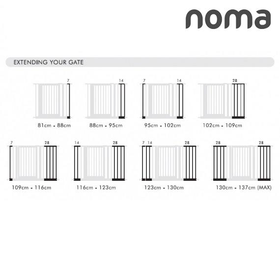 Noma Pressure Fit Baby Safety Gate Extension White