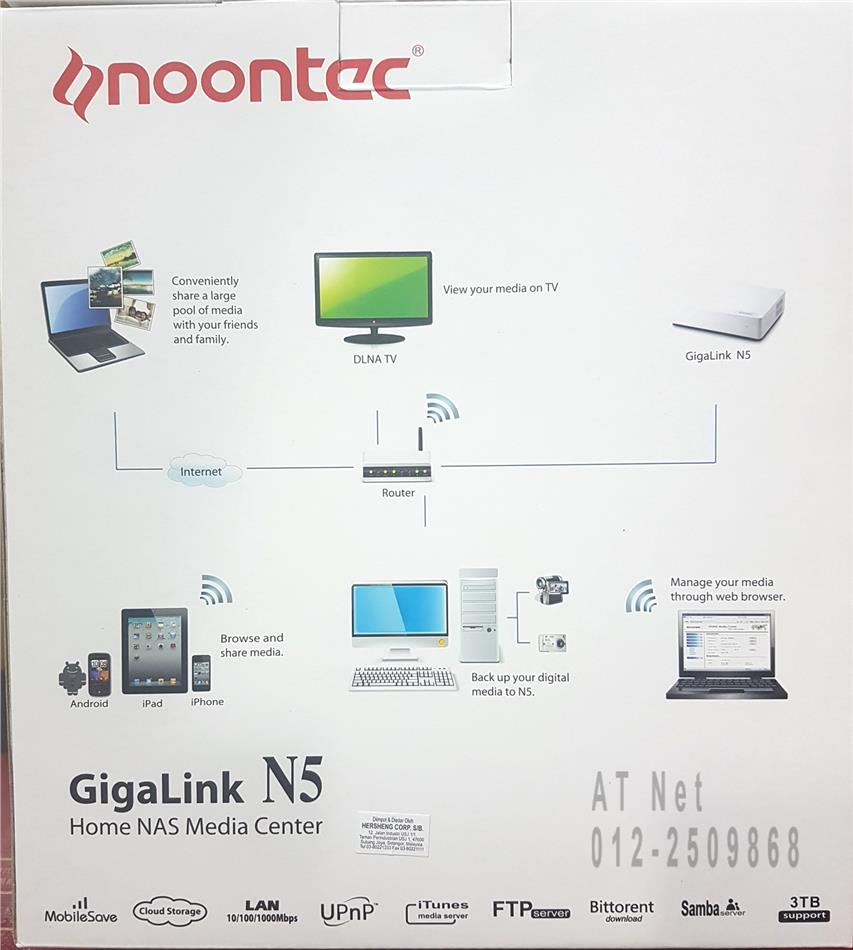 NOONTEC HOME NAS MEDIA CENTER GIGALINK N5