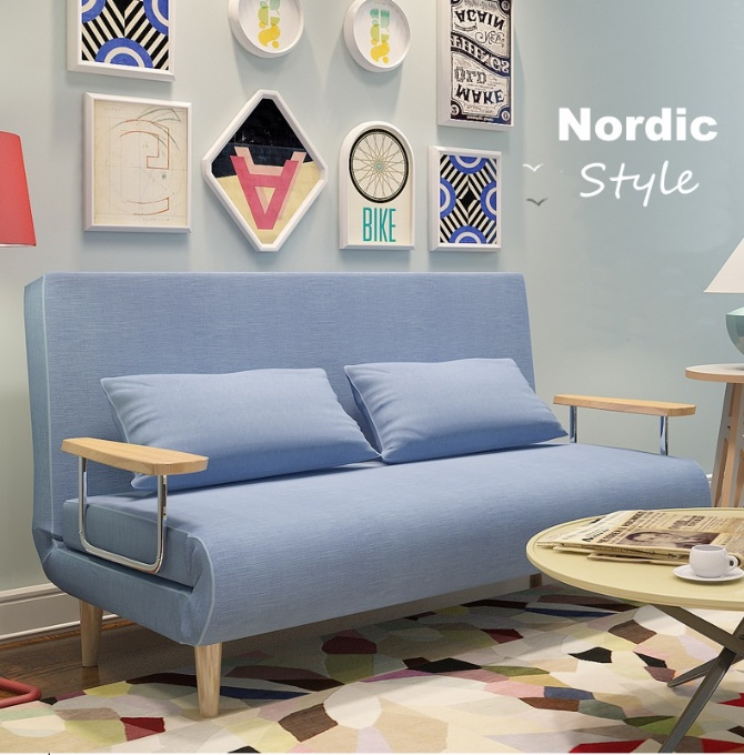 Miraculous Nordic Design Simple Fabric Solid Wood 3 Seater Sofa Bed 120Cm Wide Download Free Architecture Designs Momecebritishbridgeorg