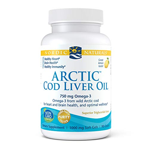 Nordic Naturals Arctic Cod Liver Oil, Lemon - 90 Soft Gels - 750 mg Total Omeg