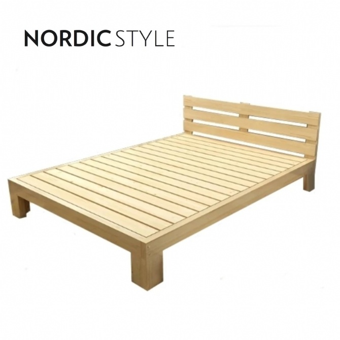 Nordic Style Pine Wood Bed Frame (Single Size)