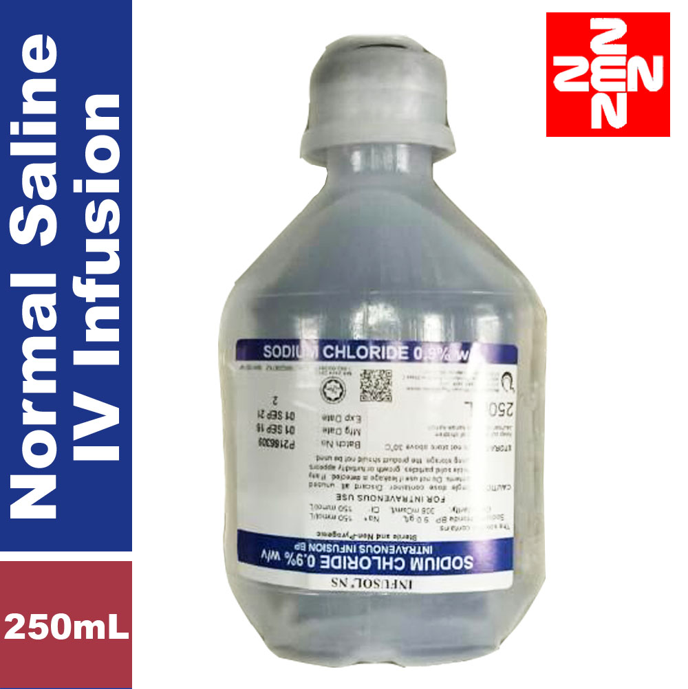 Normal Saline(Sodium Chloride 0.9%)Intravanous Infusion 250mL. ‹ ›