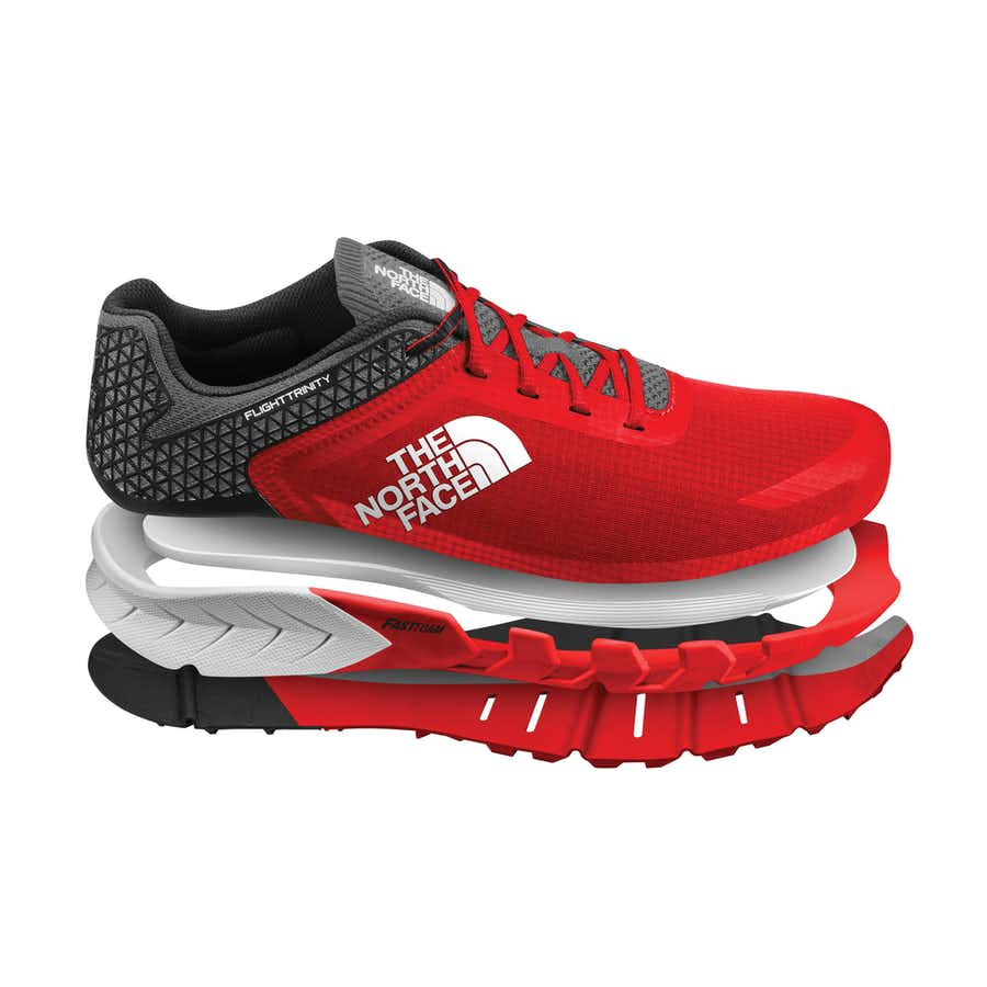 5ee0861fe THE NORTH FACE FLIGHT TRINITY TRAIL RUNNING SHOES - MEN'S (RED)
