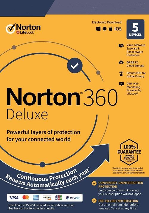Norton 360 Deluxe 2020 - 2 Years 5 Devices Windows Mac Android IOS