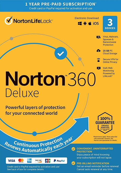 Norton 360 Deluxe 2021 - 2 Years 3 Devices Windows  Mac Android IOS