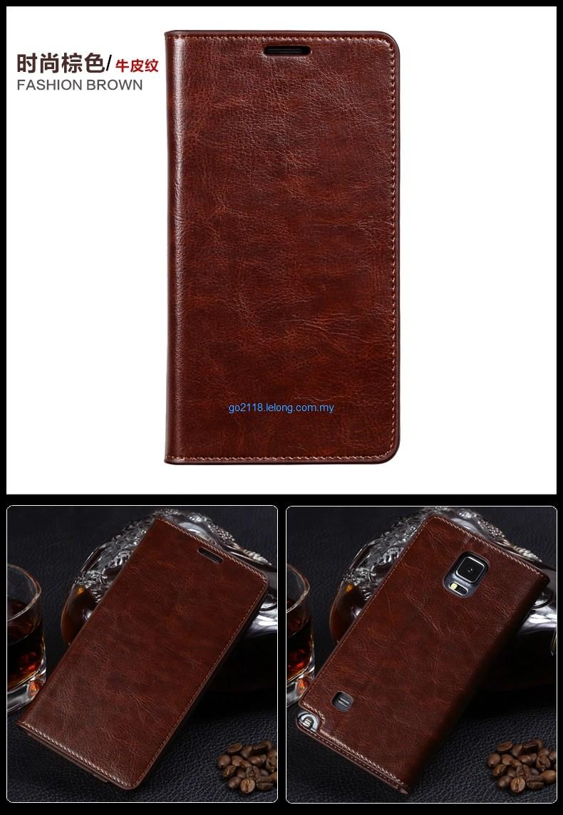 Note 4 Flip Cover Casing Case Genuine Cowhide skin Leather