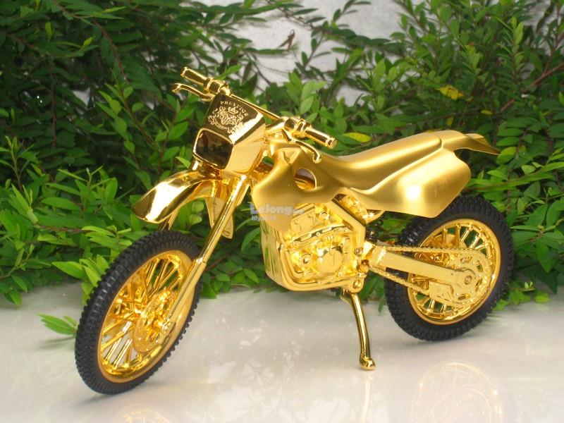Novelty Table Lighter Jet Flame Motorcycle Dirt Bike Shape (Gold)