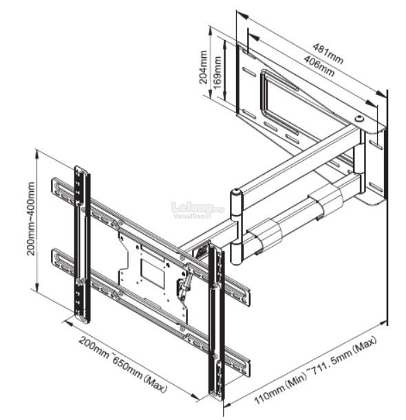 NPSP2 Cantilever Mount for 40'-70' LCD TV