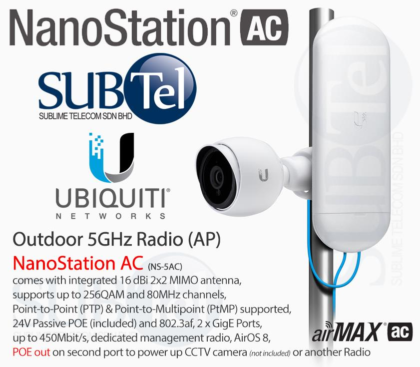 NS-5AC Ubiquiti NanoStation AC 5GHz Bridge 16dBi UBNT AirMax NSM5 M5