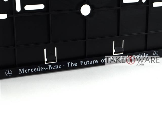 Number Plate Frame   Double Row   Black / Silver   Mercedes Benz