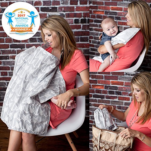 ~ Nursing Cover with Sewn in Burp Cloth for Breastfeeding Infants | Free Match