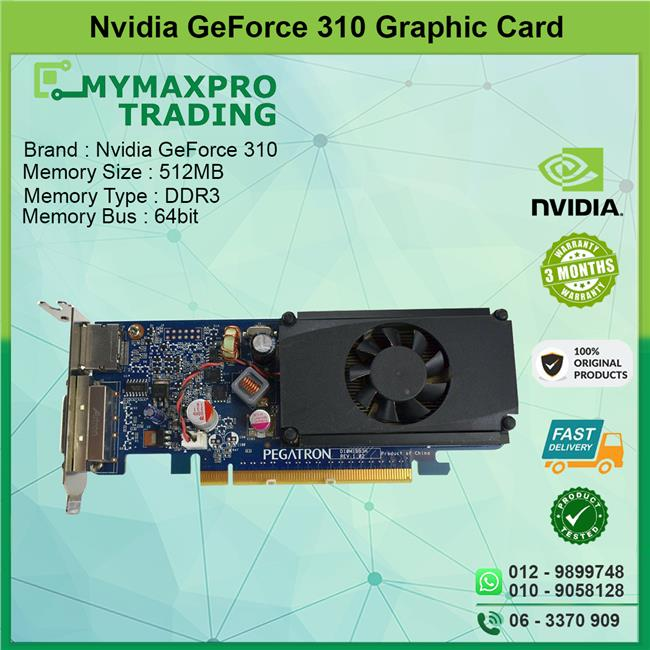 NVIDIA GeForce 310 512MB DDR3 64bit DVI HDMI PCI-E Graphic Card  0TFD9