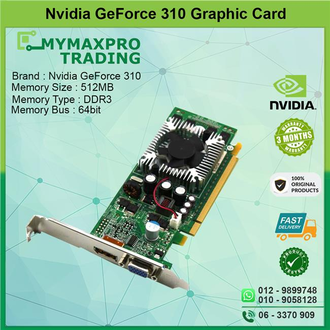 NVIDIA GeForce 310 512MB DDR3 64bit VGA Display Port Graphic Card