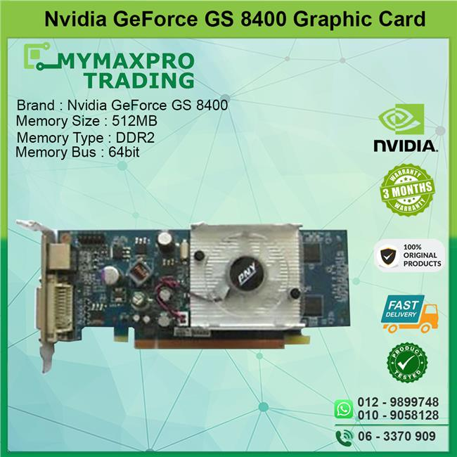 NVIDIA GeForce 8400 GS 512MB DDR2 64bit DVI HDMI Graphic Card
