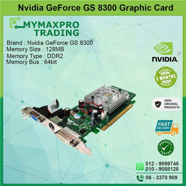 NVIDIA GeForce GS 8300 128MB 64bits DDR2 DVI TV-OUT VGA Graphic Card