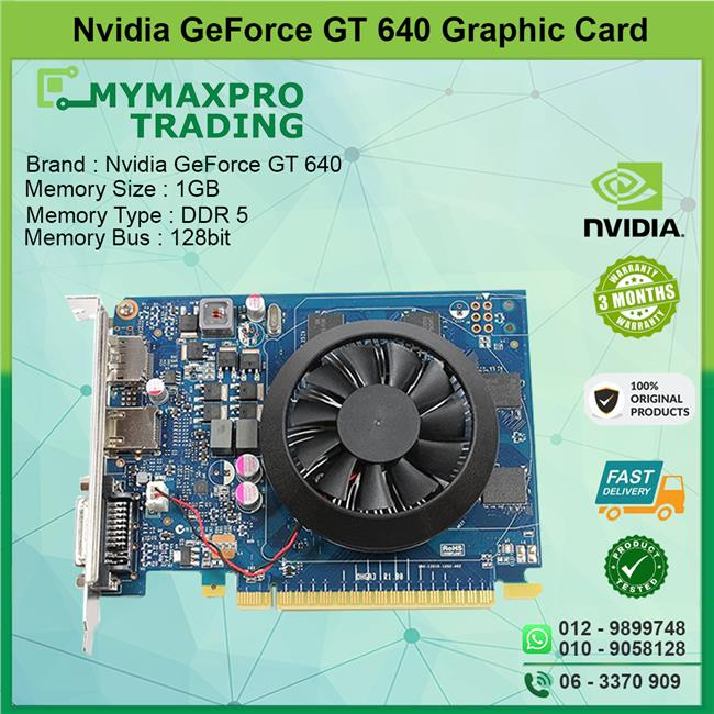 NVIDIA GeForce GT 640 1GB DDR5 128bit DVI HDMI Display Port GPU